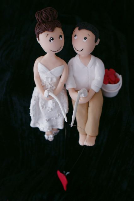 Customised wedding cake bride and groom ( non edible - cold porcelain)
