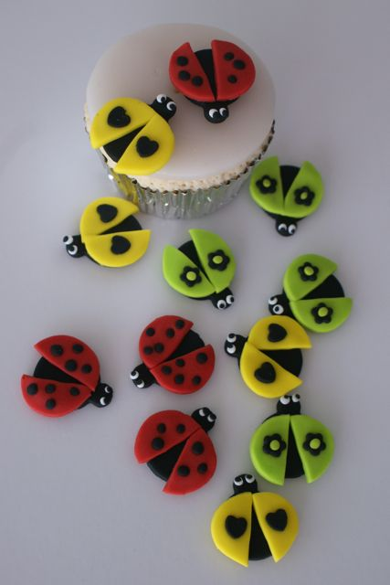 Bug pebbles cupcake toppers